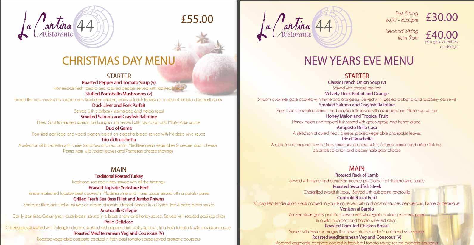 Christmas New Years Menus